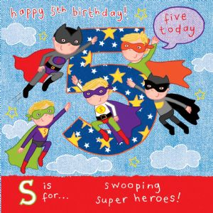 AGE 5 Boys Birthday Card, Superheroes TW061